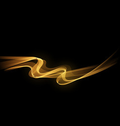Abstract golden luxury wave isolated on black vector