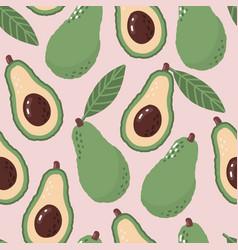 Avocado pattern vegetable seamless green organic vector