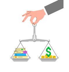 balance scales with stack books and money vector image