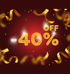 Banner 40 off with share discount percentage gold vector