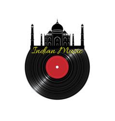 Black vinyl disk record with taj maha vector