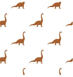 Brown brachiosaurus dinosaur pattern seamless vector