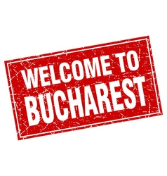 Bucharest red square grunge welcome to stamp vector