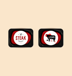 butchery and steak label vector image