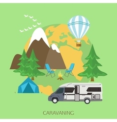 Caravaning and camping tourism background Flat vector