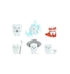 cartoon teeth characters collection teeth medical vector image