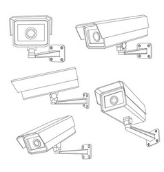 cctv security camera set outline vector image
