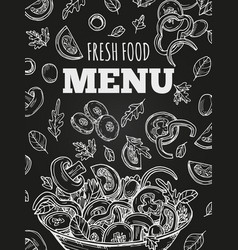 Chalkboard fresh food menu template cover vector