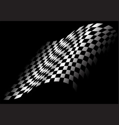 checkered flag flying in black design race sport vector image