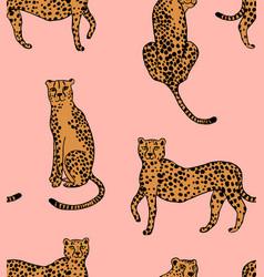 Cheetah on pink pattern vector