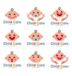 Childcare logos set of flat simple style of emoji vector