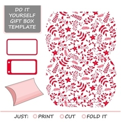 Christmas gift packaging template Favor vector image