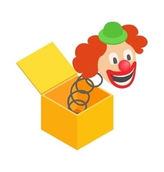 Clown jumps out of the box icon vector