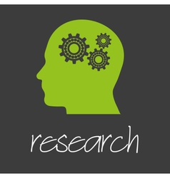 cogwheel in head technical machine research design vector image