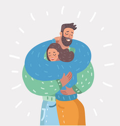couple is hugging each other on white background vector image