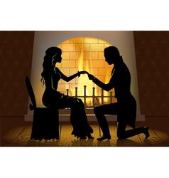Couple near fireplace vector