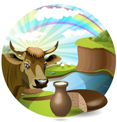 cow with milk and bread vector image