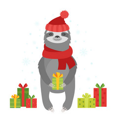 cute cartoon sloth with gifts vector image