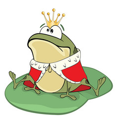 Cute green frog king cartoon vector