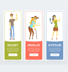 Disabled people banners set blind woman persons vector