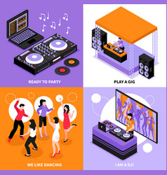 Dj music isometric concept vector