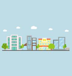 downtown landscape modern building flat design vector image