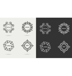 Elegant art line monogram logo design vector