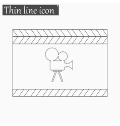 Film clapper board icon Style thin line vector