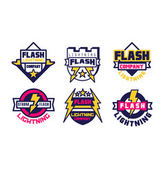 flash lightning logo templates collection energy vector image