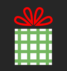 Flat color icon gift box on dark background a vector