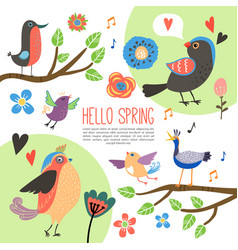flat spring time composition vector image