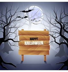 Foggy forest with wooden sign halloween background vector