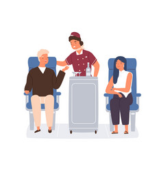 Friendly stewardess rolling trolley and serving vector