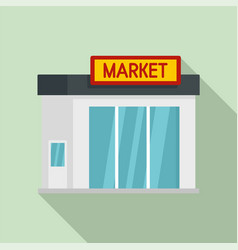 Gas station market icon flat style vector