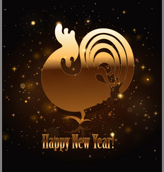 Gold rooster symbol of 2017 vector