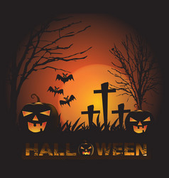 halloween background with pumpkin ghost face red vector image