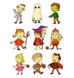 Halloween kids funny kids in creepy costumes set vector