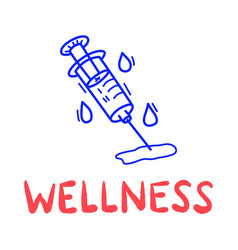 hand draw doodle wellness medical syringe icon in vector image