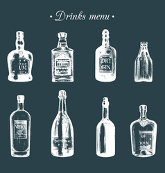 hand sketched bottles alcoholic beverages rum vector image