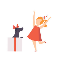 happy girl rejoicing a puppy who sitting inside a vector image