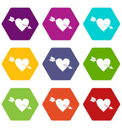 Heart with arrow icon set color hexahedron vector