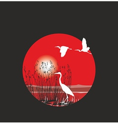 Herons and reeds in the ring vector