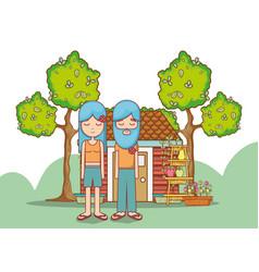 hippies couple at garden vector image