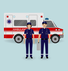 Hospital staff concept paramedics ambulance team vector