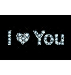 I Love You - diamond letters vector image