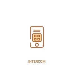 Intercom concept 2 colored icon simple line vector
