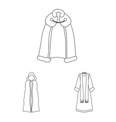 Isolated object robe and garment symbol set of vector