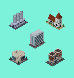 Isometric architecture set of office company vector
