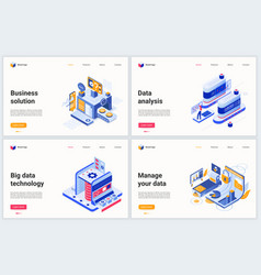 isometric business analysis and data management vector image