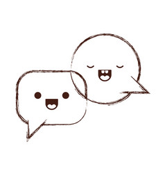 Kawaii dialogue speech set with tail in monochrome vector